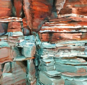 Painting of gypsum, limestone and shale in Zion National Park