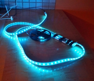 Photo of BlinkyTape soldered to NeoPixel LED strip