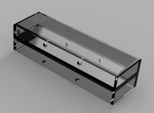 A recent rendering of the custom part for holding the LEDs butting the pages up them.