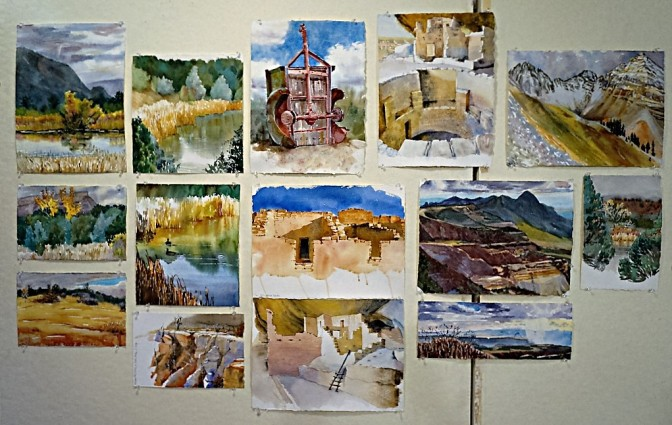 Watercolor paintings by Suze Woolf near Mancos Colorado